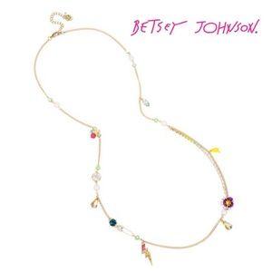 Betsey Johnson Long Charm Station Necklace